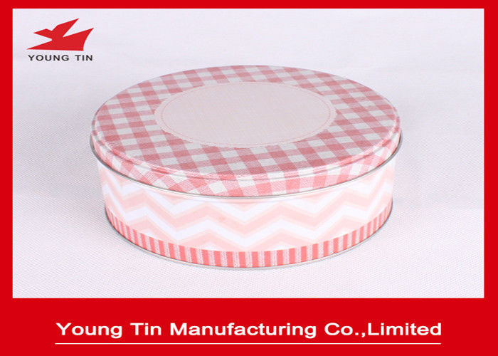 Custom Pink Round Gift Tins YT1266 , CMYK Offset Printing Matte Varnishes Tin Box