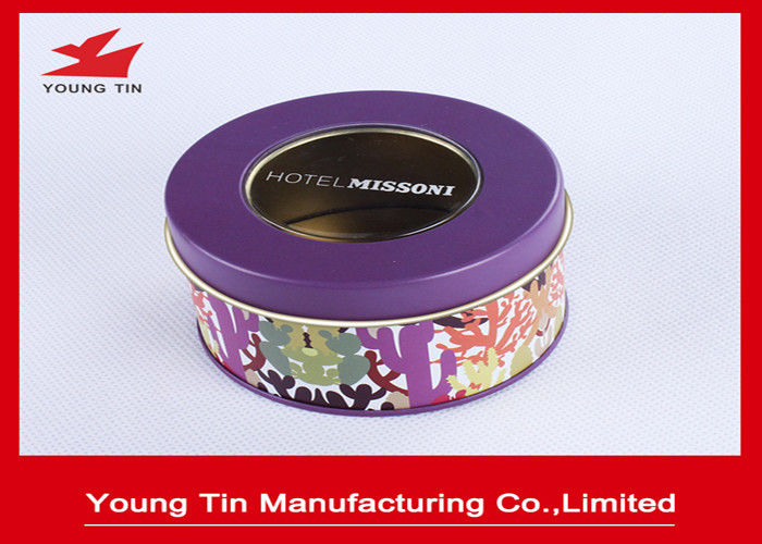 Color Printed Round Gift Tins 0.23mm Tinplate Transparent PVC Window Lids On Top