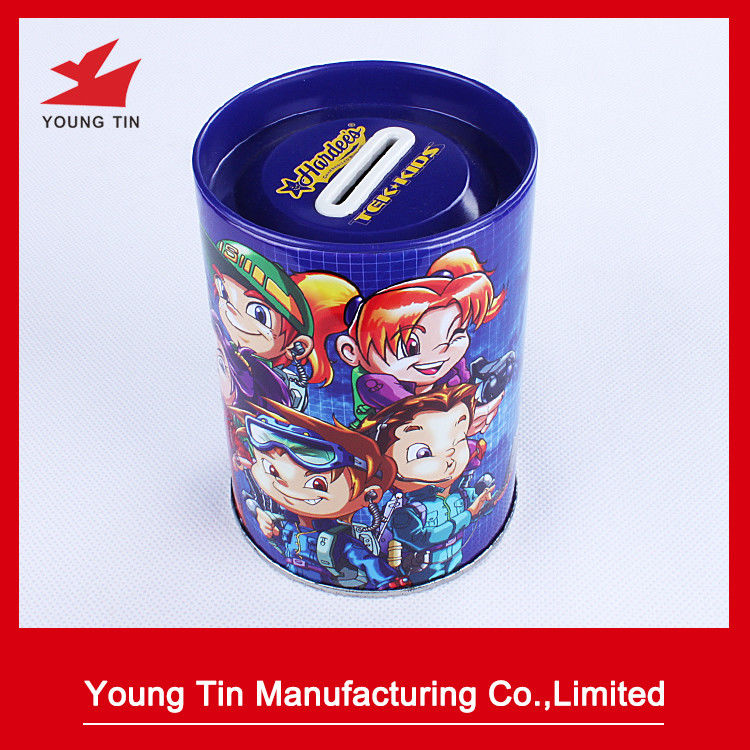 Cylinder Round Piggy Bank Coin Bank Tin Full Color Printed Outside Glossy Finish