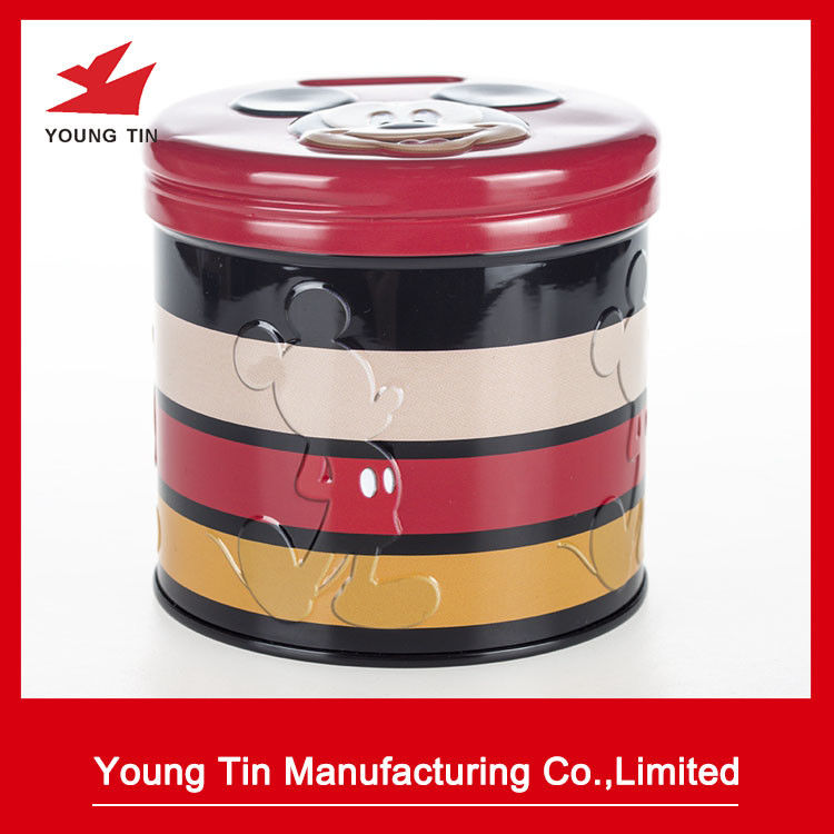 Emtpy Round Coin Bank Containers Full Color CMYK Printed And Embossed