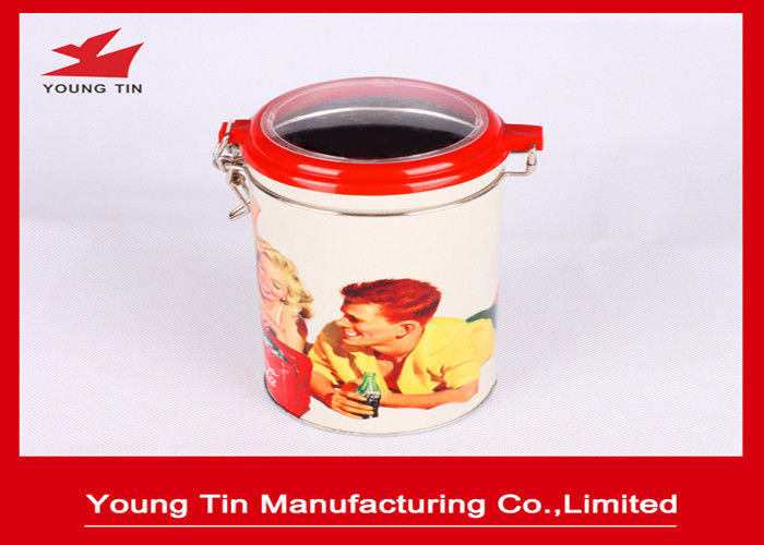 0.23 MM Cylinder Coffee Powder Packaging Metal Tin Boxes With Clear PET Window