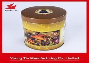 CMYK Printing Round Metal Coffee Tin Containers Food Grade Tinplate Material